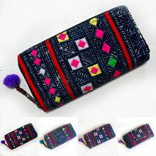 モン族藍染め長財布ウォレットポーチカード入れ1点ものアジアンエスニックの刺繍財布アジアン雑貨【レビューで200円クーポンプレゼント】