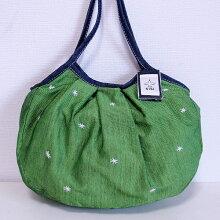 【メール便】sisiグラニーバッグ定番サイズ刺繍グリーンsisiバッグ手刺繍の*模様がかわいい!軽くて使いやすくてたためる布バッグショルダーバッグ
