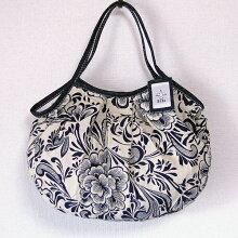 【メール便】sisiグラニーバッグ定番サイズリネンコットン花柄軽くて使いやすくてたためる布バッグショルダーバッグ
