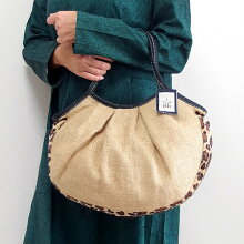 【メール便】sisiグラニーバッグ定番サイズジュート×フェイクファーブラウンレオパードsisiバッグ布バッグ