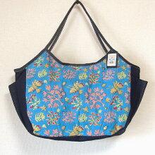 【送料無料】sisi大きいバッグ珊瑚ブルーインドブロックプリントマザーバッグとして、旅行バッグとして大人気♪たっぷりサイズがうれしいsisiの大きめバッグママバッグおけいこバッグショルダーバッグトートバッグ