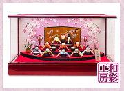 雛人形木製枠本格アクリルケース飾り「扇面三段わらべ雛10人揃い」ksc057a/リュウコドウひな人形コンパクト||かわいいおひなさまお雛様ミニモダン小さいおしゃれ女の子初節句京都ひな祭りミニチュア小型ひなまつりちりめん雛人形ケース飾りミニ雛人形