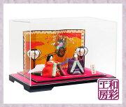 雛人形ケース飾り「優しいお顔の正絹古布調高級雅雛」rhk270