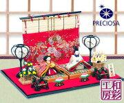 雛人形ひな人形「PRECIOSA西陣金襴きらら雛」rh338コンパクト/リュウコドウ||ひなまつりひな祭り小さいミニ屏風お道具かわいいおひなさまおひな様初節句女の子ひな飾り)