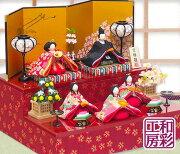 雛人形ひな人形「高級バージョン彩り友禅雛五人揃い二段飾り」rhs243sお雛様コンパクト収納リュウコドウ||(ひな飾りひなまつりひな祭り桃の節句ちりめん細工)