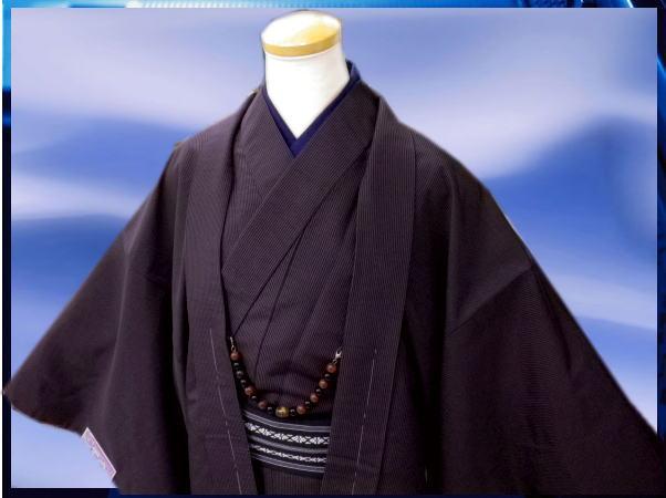 お正月&各記念日に♪お仕立て上がり男物男性着物あとは着るだけフルセット紫×黒ラインM・L・LL