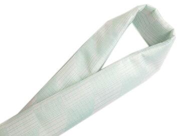 夏用(絽)和柄半衿半襟白色地水色ライン 夏物着物に 日本製