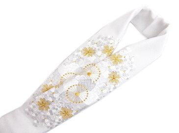 刺繍半衿半襟白色地金糸入り八重桜さくら 振袖成人式&卒業式袴・着物に