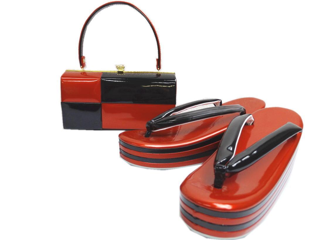 dd45dbd3251dd1 エナメル草履バッグセット横角型市松赤黒フリー(24.5cm)·LL(25.5cm ...