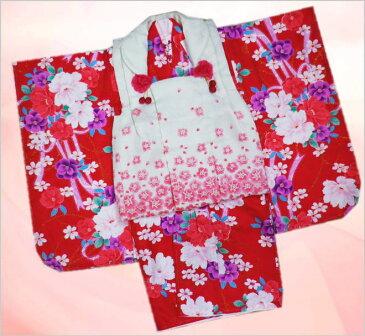 七五三着物3歳女の子被布セット(9点)赤色地可憐花リボン&白地小薔薇