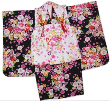 七五三着物3歳女の子被布セット(8点)子供用キッズ 黒&白蝶鞠古典花