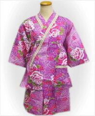 夏祭&普段着に♪女性レディース用ラメレース甚平じんべい紫ピンク地薔薇桜