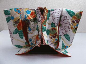 正絹ミニチュア着物きもの=振袖&衣桁セット 白地古典花 和小物インテリア飾りに
