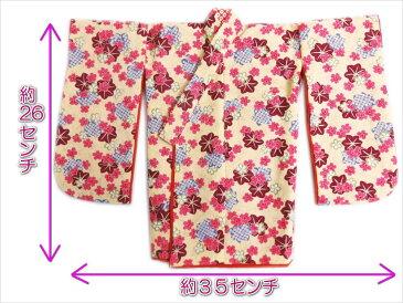正絹ミニチュア着物きもの=振袖&衣桁セット ベージュ地桜紅葉 和小物インテリア飾りに