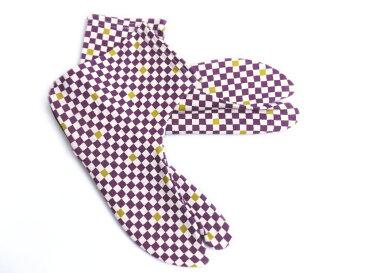 女性用ストレッチ柄足袋紫色地市松フリー(22.5〜25.0) カジュアル着物きもの&卒業式袴に 日本製