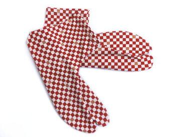 女性用ストレッチ柄足袋赤色地市松フリー(22.5〜25.0) カジュアル着物きもの&卒業式袴に 日本製