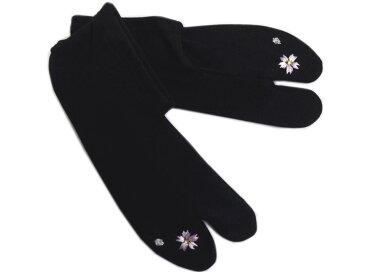 ラインストーン刺繍ストレッチ足袋桜黒フリー 振袖成人式・卒業式袴&着物に 日本製