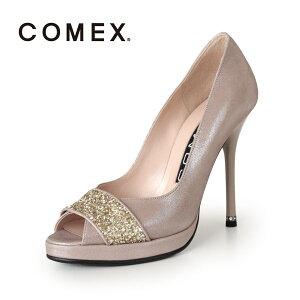 COMEXコメックスパンプス靴5522(ベージュラメ)オープントゥハイヒール本革ピンヒールストームプラットフォームグリッター