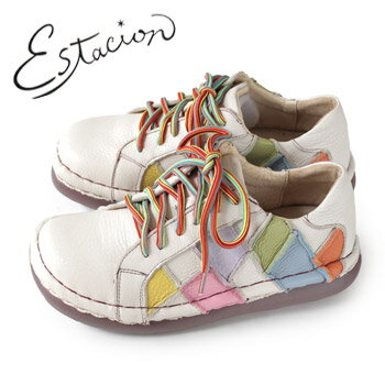 エスタシオン 靴 estacion TG155 (IV/MT) 本革 厚底 カジュアルシューズ コンフォートシューズ レディース 紐靴 レースアップシューズ 白