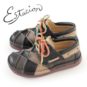 esutashion鞋estacion TG154(BL/MT)本皮革厚底休閒鞋舒服鞋女士帶子鞋比賽提高鞋拼湊細工