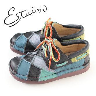 esutashion鞋estacion TG154(NV/MT)本皮革厚底休閒鞋舒服鞋女士帶子鞋比賽提高鞋拼湊細工