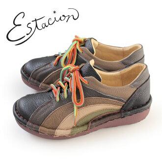 esutashion鞋estacion MS820(BL/MT)本皮革厚底休閒鞋舒服鞋女士帶子鞋比賽提高鞋