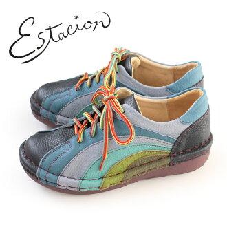 esutashion鞋estacion MS820(NV/MT)本皮革厚底休閒鞋舒服鞋女士帶子鞋比賽提高鞋