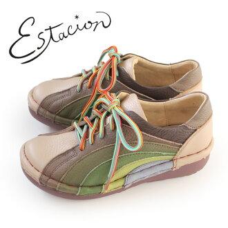 esutashion鞋estacion MS820(OK/MT)本皮革厚底休閒鞋舒服鞋女士帶子鞋比賽提高鞋