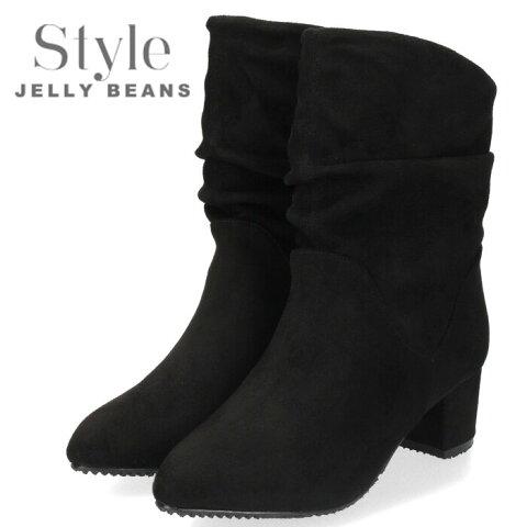 STYLE JELLY BEANS ジェリービーンズ 靴 3720 ルーズブーツ レディース ヒール 黒 ブラック スエード チャンキーヒール ポインテッドトゥ セール