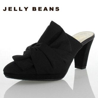 果凍果凍豆豆鞋 8229 sabosandal 騾子絲帶黑色女士