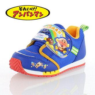上啊!麵包超人MoonStar MOONSTAR APM C137藍色BLUE小孩跑步鞋運動鞋尼龍粘鏈