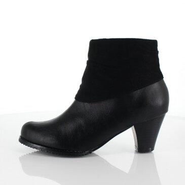 DUOMO SIENA デュオモシエナ 靴 2464 ブーツ ヒール ショートブーツ サイドジップ シンプル 防水 黒 ブラック レディース