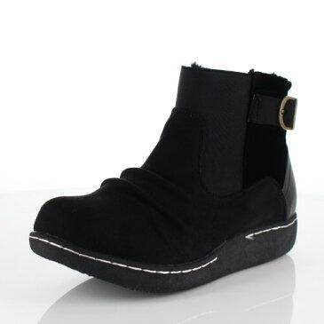 LOILO ロイロ 靴 9401 サイドゴア ショートブーツ 撥水 ベルト ローヒール カジュアル ボア ウインターブーツ 黒 ブラック レディース