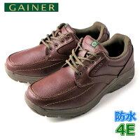 靴ウォーキングシューズメンズGAINERゲイナーGN001レッドブラウンスニーカーコンフォートシューズ4E防水