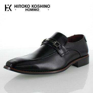 ヒロコ コシノ オム HIROKO KOSHINO HOMME HK9807 ブラック メンズ 靴 ビジネスシューズ スワールモカ ビット ローファー スリッポン 3E