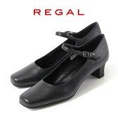 リーガル レディース 黒 パンプス ストラップ 靴 REGAL 6769 本革 リクルート 就活 就職活動 仕事 冠婚葬祭