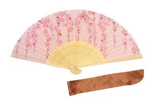 扇子 桜柄 レディース いつもの微笑み 枝垂れ桜 ピンク