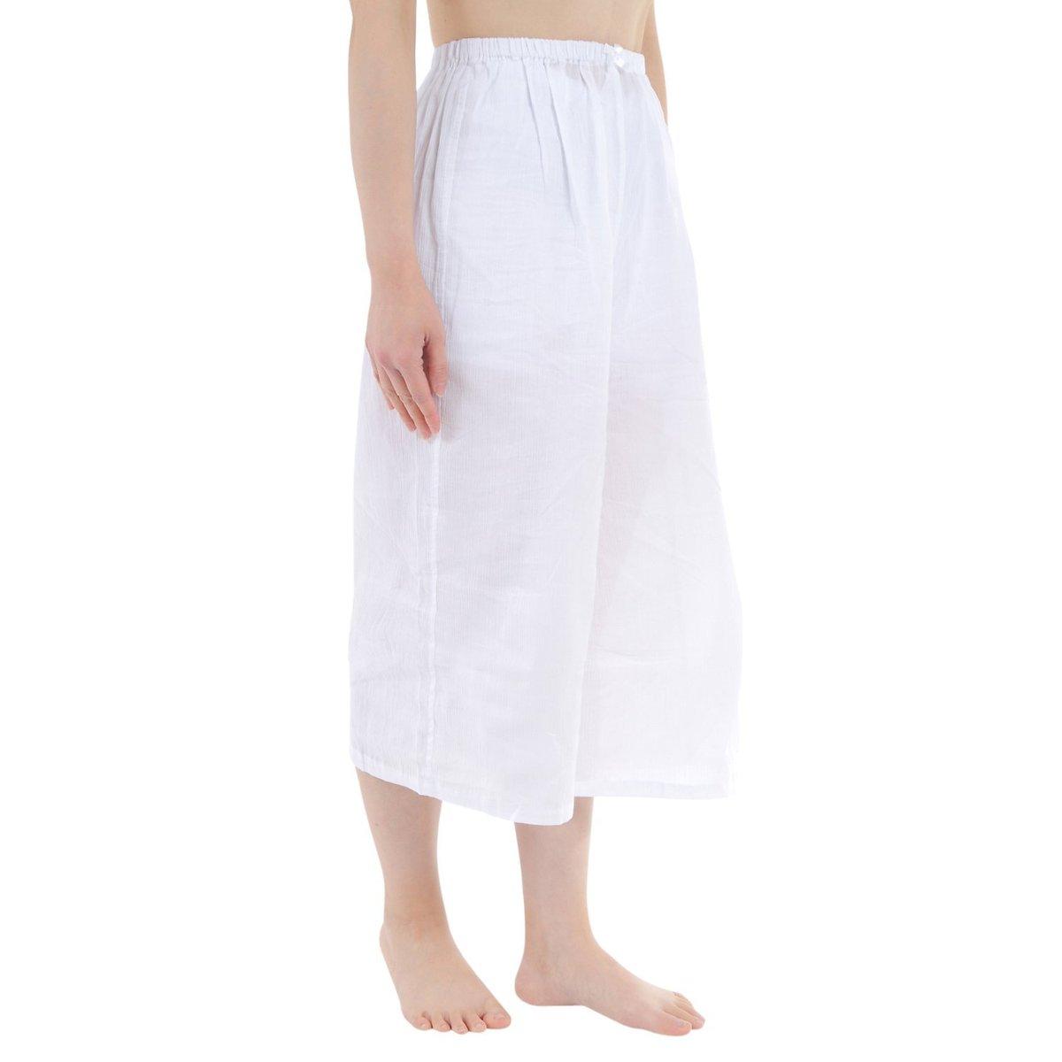 ステテコ レディース 和装 下ばき クレープ生地 吸汗速乾 夏用 綿100% M L サイズ ka0515
