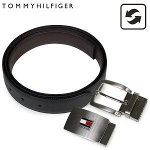 【最大600円OFFクーポン】 TOMMY HILFIGER トミーヒルフィガー ベルト メンズ 本革 ベルトセット リバーシブル バックル ビジネス ブラック ブラウン 11TL08X007-014