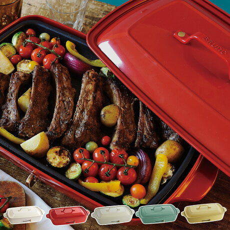 BRUNO BOE026 ブルーノ ホットプレート たこ焼き器 焼肉 グランデサイズ 大きめ 平面 電気式 ヒーター式 レシピブック 1200W 大型 大きい パーティ キッチン ホワイト レッド 白 [7/15 新入荷]