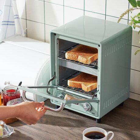 Toffy K-TS4 トフィー オーブントースター 縦型 2枚 シンプル コンパクト 3段階火力切替式 タイマー トースト パン焼き キッチン 家電 ラドンナ LADONNA