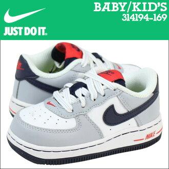 Nike 耐克嬰兒孩子空軍 1 TD 運動鞋空軍 1 蹣跚學步皮革初中孩子嬰兒學步車 314194 169 白色灰色紅色