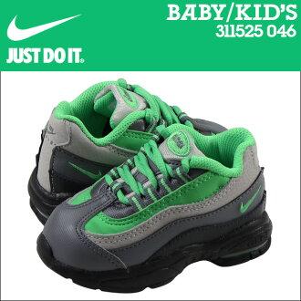 Nike 耐克嬰兒孩子空氣馬克斯 95 TD 運動鞋空氣馬克斯 95 蹣跚學步皮革初中孩子嬰兒學步車 311525-046 無煙煤