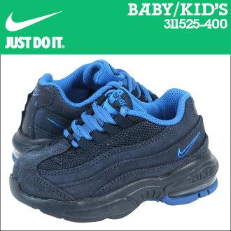Nike 耐克嬰兒孩子空氣馬克斯 95 TD 運動鞋空氣馬克斯 95 蹣跚學步網初中孩子嬰兒學步車 311525 400 午夜海軍