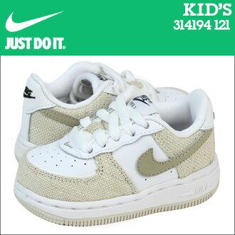 Nike 耐克嬰兒孩子空軍 1 TD 運動鞋空軍蹣跚學步皮革初中孩子嬰兒學步車 314194 121 白色米色