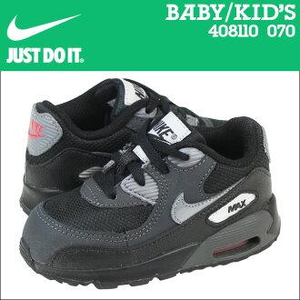 2 點 x 耐克寶貝孩子空氣最大 90 TD 運動鞋 Air Max 蹣跚學步校園初中孩子嬰兒學步車 408110-070 黑灰色
