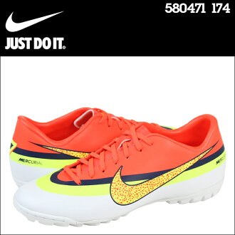 NIKE 耐克足球訓練鞋 MERCURIAL 勝利 4 CR TF 580471 174 白色橙色男裝