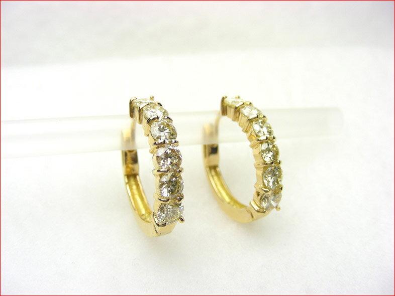 K18イエローゴールド フープタイプ ダイヤモンドラインピアス  10P03Aug09