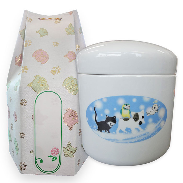 ミルキーロード覆い袋付 【楽天市場】ペット骨壷 ミルキーロード 4寸 覆い袋付き【ペット用 猫