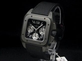 Cartier - CARTIER - Santos 100 XL carbon chronograph W2020005 SS / TI / leather mens
